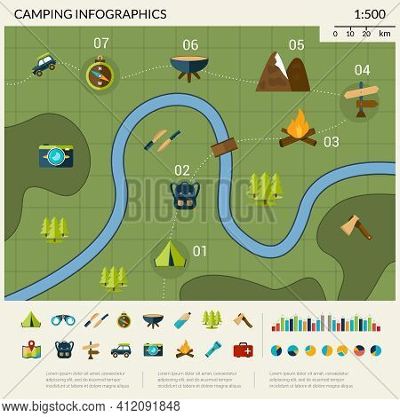 Camping Infographics Set With Hiking Tourism And Adventure Travel Symbols Vector Illustration