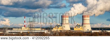 Nuclear Power Plant With Cooling Towers Of Atomic Energy Power Station With Emission Of Steam In The