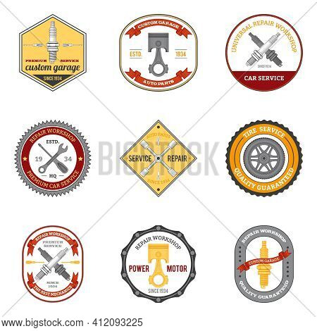 Repair Workshop Car And Motorcycle Mechanic Emblems Colored Set Isolated Vector Illustration