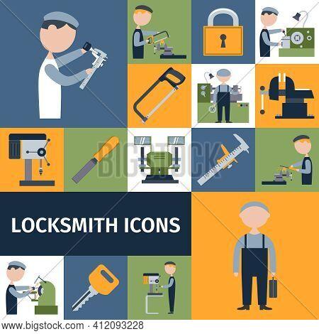 Locksmith Repairman Metal Worker Master Decorative Icons Set Isolated Vector Illustration