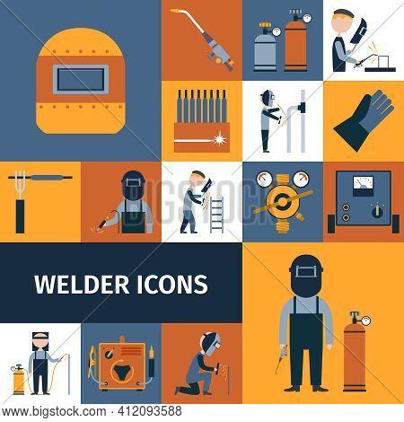 Welder And Blacksmith Laborer Decorative Icons Set Isolated Vector Illustration