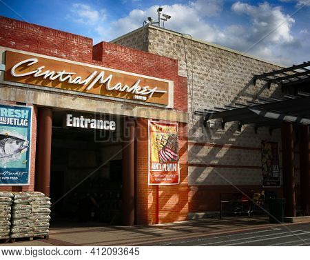March 10, 2021, Austin, Texas. Central Market, Entrance.  Central Market Is An American Gourmet Groc