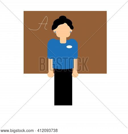 A Teacher In A Blue Blouse And Black Skirt Stands Near The Blackboard. Vector Illustration.