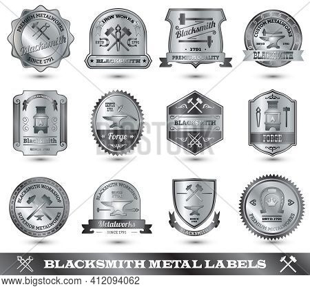 Blacksmith Ironwork Craft Master Metal Label Set Isolated Vector Illustration
