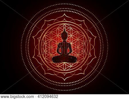 Chakra Concept. Inner Love, Light And Peace. Buddha Silhouette In Lotus Position Over Gold Ornate Ma
