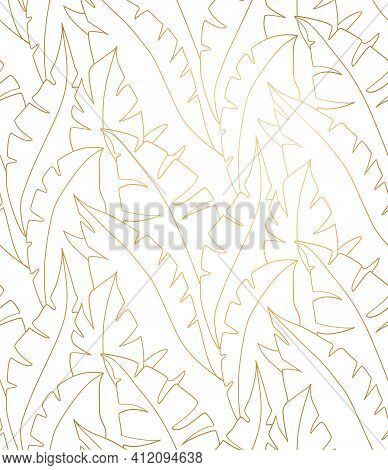 Palm Leaves Gold Pattern. Palm Leaves Seamless Pattern Vector. Lina Art Illustration. Shirting Texti