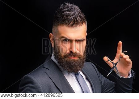 Barbershop. Hair Salon And Barber Vintage. Beard Care. Haircuts And Hairstyle. Bearded Men With Hair