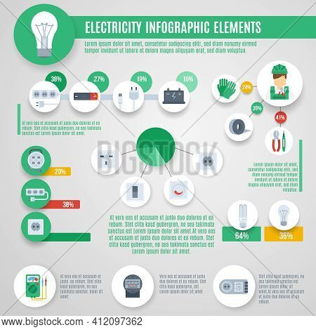 Electricity Infographics Set With Professional Electrician Tools And Charts Vector Illustration