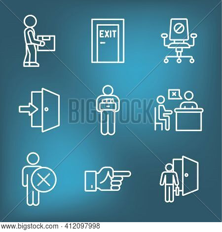 Job Loss, Downsizing, Getting Fired, Unemployment From Covid 19 Or Coronavirus Icon Set
