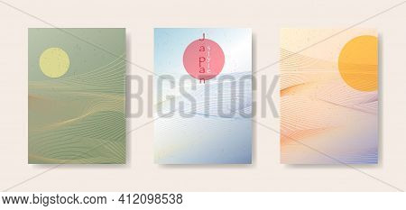 Japanese Background Set Card With Line Wave Pattern Vector Illustration. Colorful Gradient Abstract