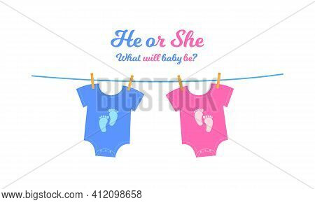 Baby Bodysuits With Blue And Pink Footprints Hanging On The Clothesline. Gender Reveal Party Invitat