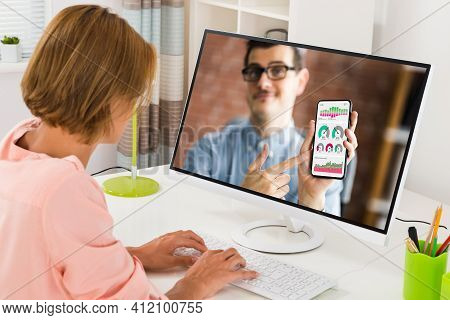 Analyst Showing Kpi Dashboard In Online Video Conference Meeting