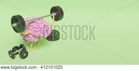 3d Illustration Of Pink Brain With Legs And Arms Exercising With Dumbbells On Green Background