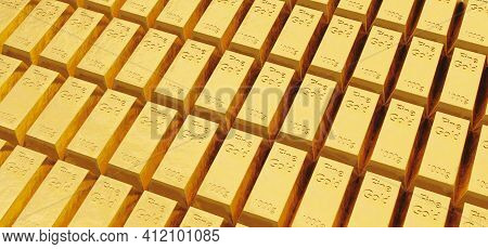 Pattern Of Many Fine Gold Bullion Bars With Intense Light. 3d Illustration