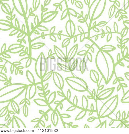 Seamless Pattern With Different Eaves On White Background. Vector Print With Plants.