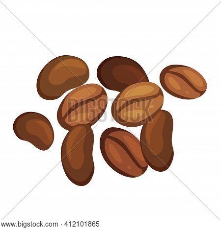 Coffee Beans Pile Cartoon Illustration. Robusta, Arabica. Aromatic Beverage With Caffeine.