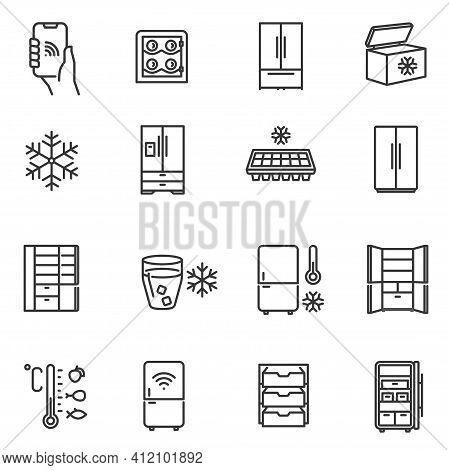 Freezer, Cooler, Fridge Thin Line Icons Set Isolated On White. Icebox, Cold-storage, Reefer Pictogra