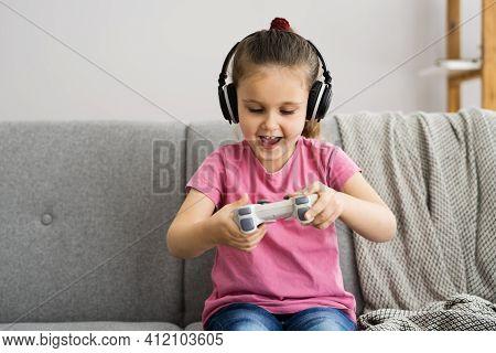 Addictive Child Kid Gamer Watching Video Game