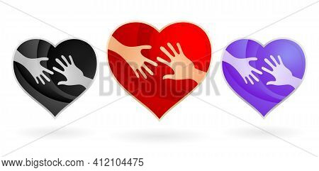 Heart For Charity Child Logos Concepts. With Two Hands And Three Variation Colors Isolated White Bac