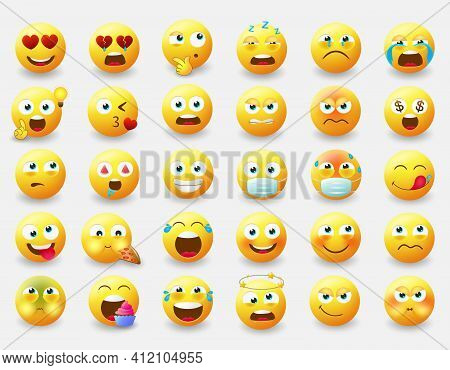 Emoticon Emojis Vector Set. Emoji Characters With Pose And Emotions Like Happy, In Love, Eating And