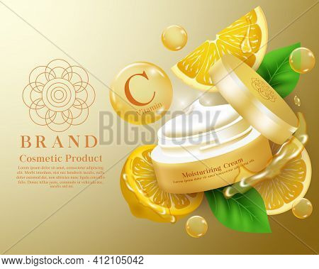 Moisturizing Cosmetic Product Vector Banner Template. Cosmetics Lemon Moisturizer Cream Products In