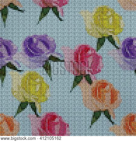 Illustration. Cross-stitch. Rose Flowers. Texture Of Flowers. Seamless Pattern For Continuous Replic