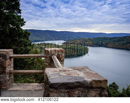 Gorgeous View Of Raystown Lake From Hawn's Overlook Near Altoona, Pennsylvania In The Fall Right Bef