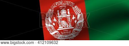 Banner With The Flag Of Afghanistan. Fabric Texture Of The Flag Of Afghanistan.