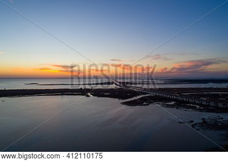 Sunset On Mobile Bay, Alabama In March Of 2021