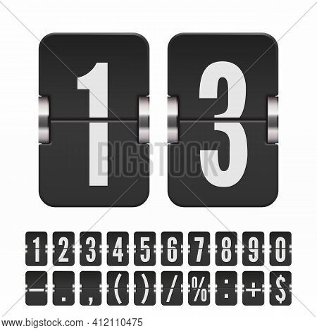 Set Of Black Flip Numbers And Symbols On A Mechanical Scoreboard. Vector Template For Your Design.