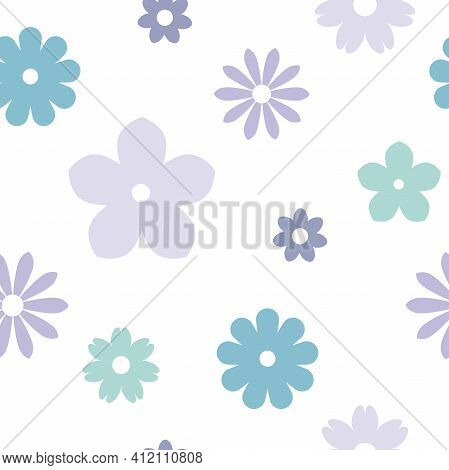 Seamless Flower Pattern. Cute Daisy, Camomile Blossoms. Flat Flowers Of Blue And Violet Colors On Wh