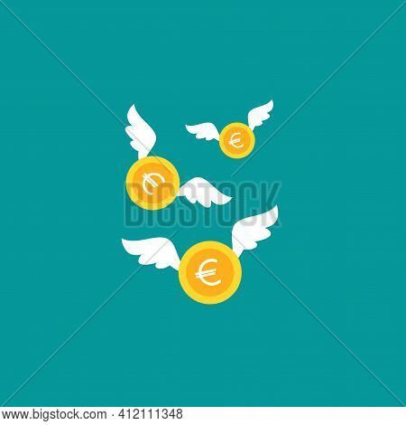 Gold Euro Coins With White Wings. Flat Icon. Isolated On Blue Background. Flying Money. Economy, Fin