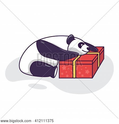 Cute Panda Hugging A Gift, Birthday Card Funny Panda. Valentine Day Illustration Card. Panda With Re