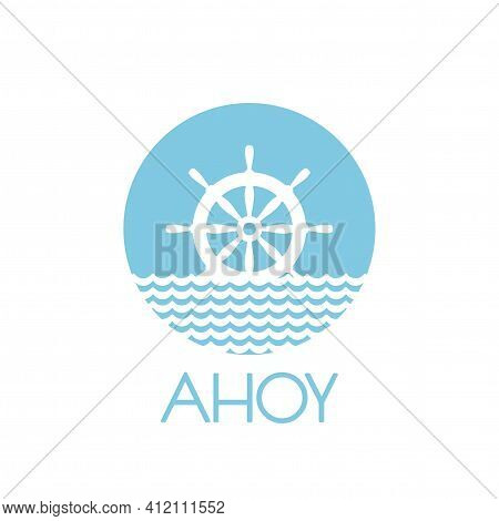 Flat Blue Silhouette Of Helm On The Water. Powder Blue Circle Isolated On White Background. Summerti