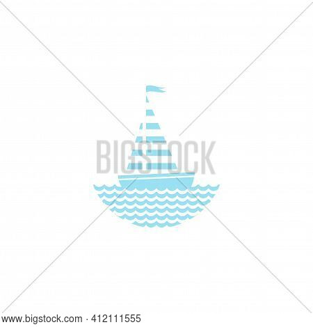 Flat Aquamarine Blue Silhouette Of Boat With Sail And Little Waving Flag On The Water. Isolated On W