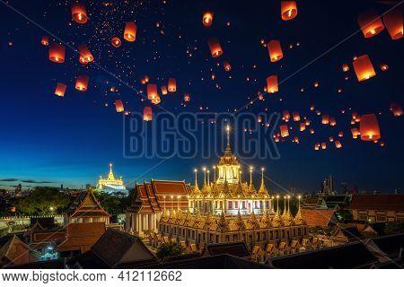 Yee Peng Festival In Bangkok City Sometimes Written As Yi Peng, Lantern Fly Over Grand Palace In Ban