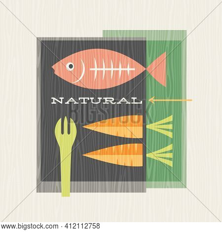Retro Illustration Of Healthy Foods Includes Salmon Fish And Carrots. Design For Posters, Menus, Dec