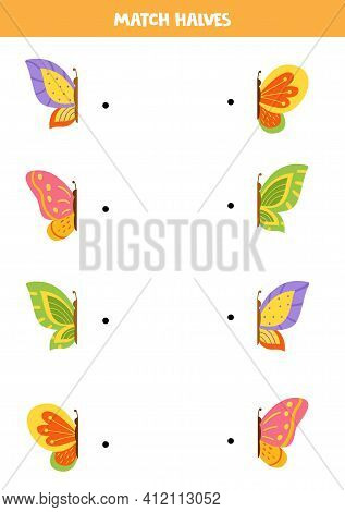 Match Parts Of Colorful Butterflies. Logical Game For Children.