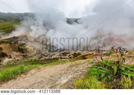 Exciting View Of Volcanic Landscape, Erupting Fumarole, Aggressive Hot Spring, Gas-steam Activity In