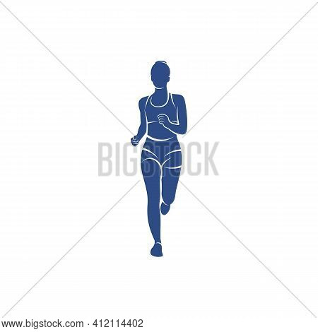 Female Runner Athletic Logo Design Vector. Icon Symbol. Template Illustration. Creative Design
