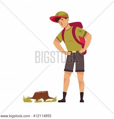 Male As Park Ranger In Khaki Cap With Backpack Looking At Tree Stump In National Parkland Vector Ill