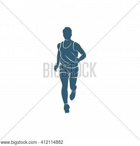 Man Runner Athletic Logo Design Vector. Icon Symbol. Template Illustration. Creative Design