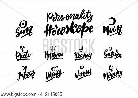 Astrology Symbols Set. Black Ink Handwriting. Natal Birth Chart Symbol.
