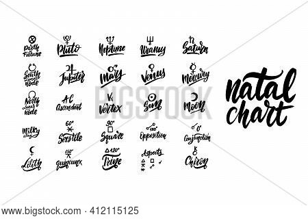 Astrology Natal Birth Chart Symbols Set. Black Ink Handwriting.