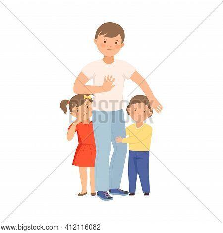 Elder Brave Boy Protecting His Little Siblings From Hooligan Vector Illustration