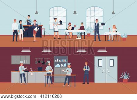 Restaurant Kitchen And Hall With Cooks And Waiters, Flat Vector Illustration.