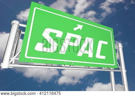 SPAC Freeway Road Sign Direction Special Purpose Acquisition Company 3d Illustration