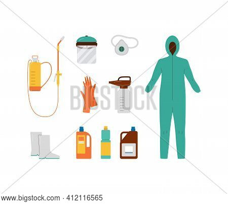 Protective Equipment For Pesticide Spraying, Flat Vector Illustration Isolated.
