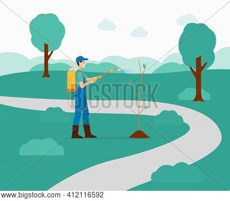 Farmer Or Gardener Sprays Pesticides On Plants Flat Vector Illustration.