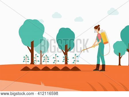 Gardener Sprays Pesticides Or Insecticides On Plants Flat Vector Illustration.